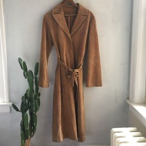 Suede leather trench coat 181011001